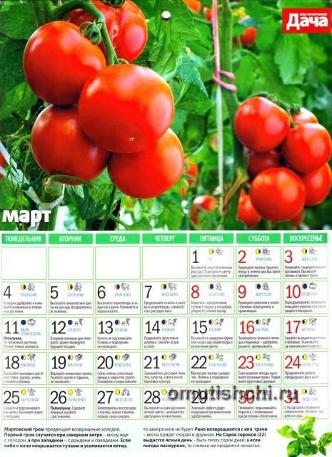 Лунный календарь 2013 года посевной - Март