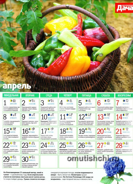 Лунный календарь 2013 года посевной - Апрель