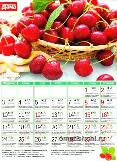 Лунный календарь 2013 года посевной - Июнь