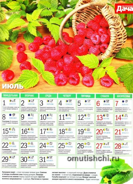Лунный календарь 2013 года посевной - Июль