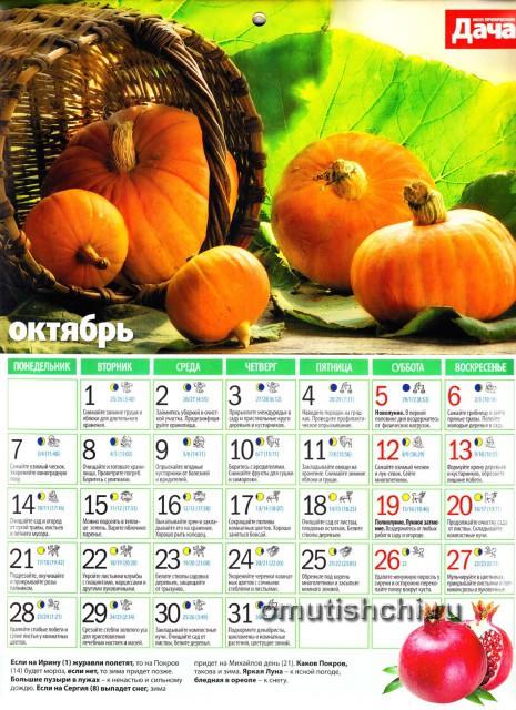 Лунный календарь 2013 года посевной - Октябрь