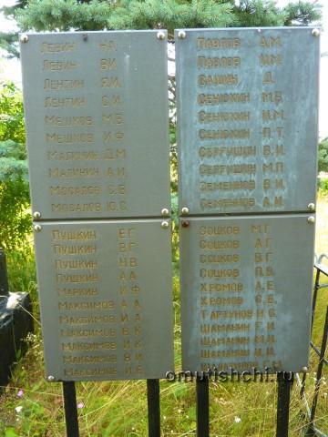 Список павших воинов во время Великой отчественной войны, из жителей деревни Старые Омутищи