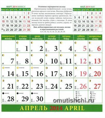 Лунный календарь садовода на 2014 год Апрель