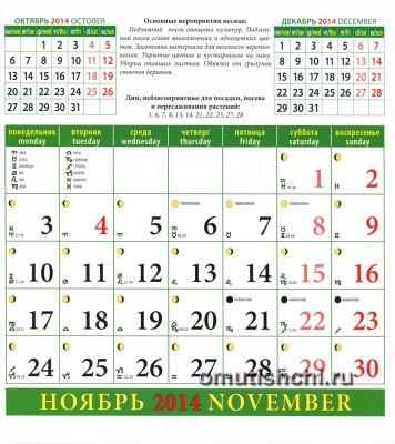 Лунный календарь садовода на 2014 год Ноябрь