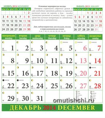 Лунный календарь садовода на 2014 год Декабрь